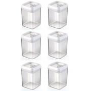 Kit 6 Potes Herméticos Em Acrílico Para Mantimentos 1,7 Litros Injeplastec 0285