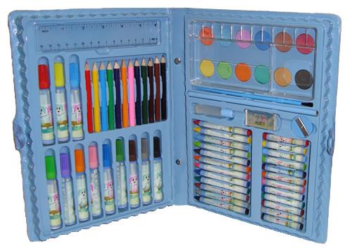 Estojo Maleta Escolar c/ Lápis Canetinhas Giz 68 Peças Azul  - MGCOMPUTERS