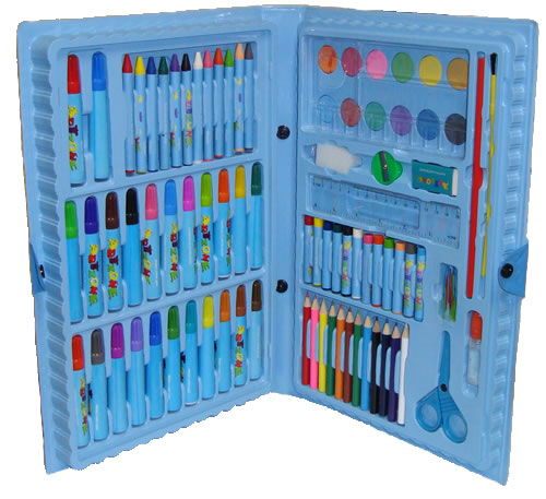 Estojo Maleta Escolar c/ Lápis Canetinhas Giz 98 Peças Azul GD98  - MGCOMPUTERS