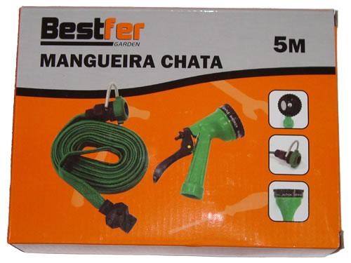 Mangueira Flat Chata Para Jardim Flexível Com 5m e Esguicho Bestfer BFG1007  - MGCOMPUTERS