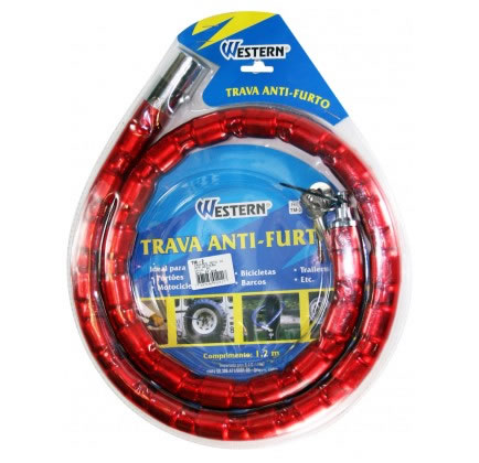 Trava Anti Furto 1,2m Para Moto Portões Estepe Western TM2  - MGCOMPUTERS