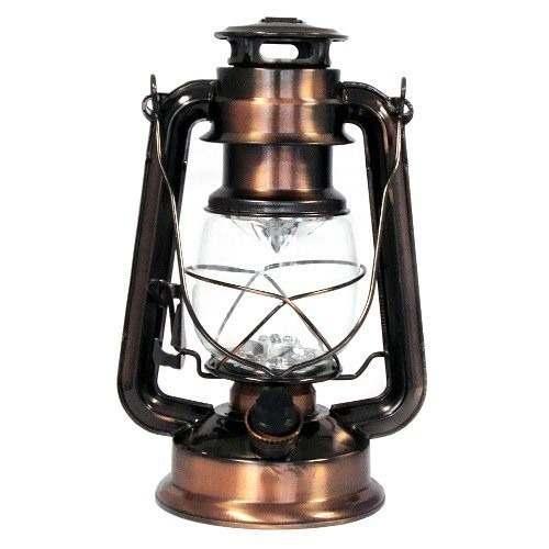 Luminária De Led Modelo Lampião Antigo Cor Cobre 25cm  - MGCOMPUTERS