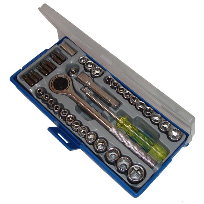 Jogo de Soquete Com Catraca 3/8 Kit Com 40 Pe�as Lee Tools 680172  - MGCOMPUTERS