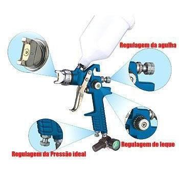 Pistola de Pintura Por Gravidade HVLP Com Regulador de Pressão Profissional EDA 8TE  - MGCOMPUTERS
