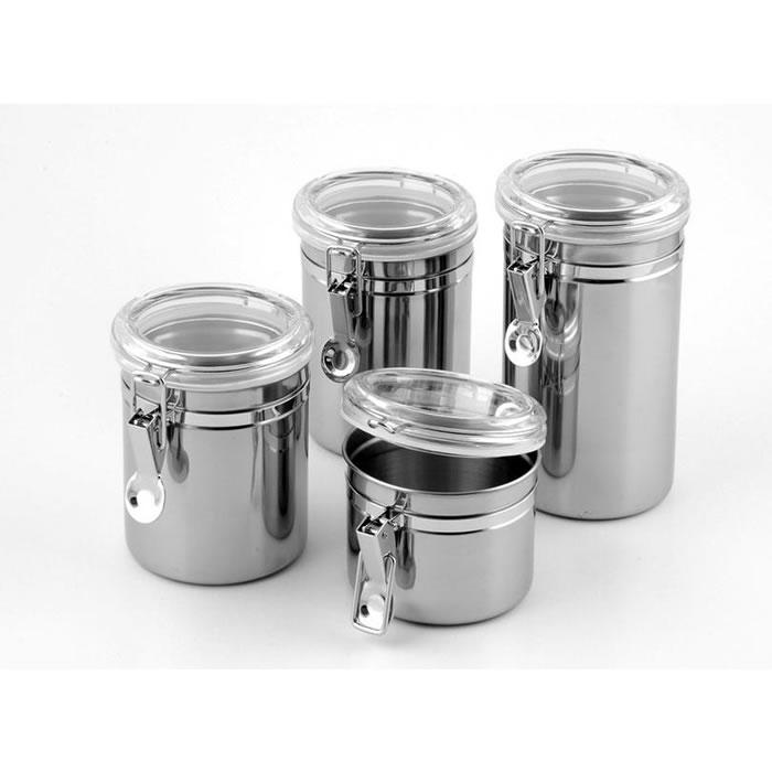Conjunto de Potes Para Mantimentos Herméticos em Inox Jogo Com 4 Peças Z4397  - MGCOMPUTERS