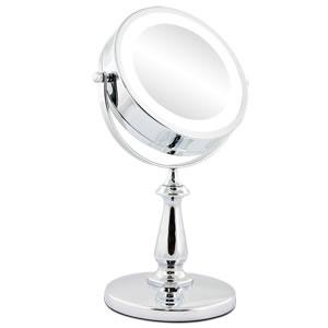 Espelho Cromado Duplo Com Aumento de 5X Iluminado Com Luz de Led Fashion Beauty JM905  - MGCOMPUTERS