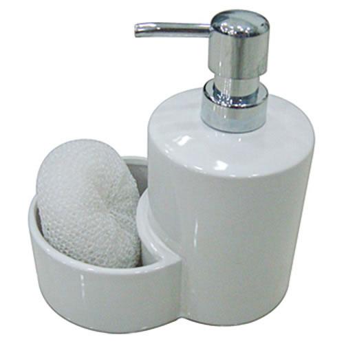Kit Para Banheiro Dispenser Para Sabonete Líquido e Bucha Branco Dynasty 16276  - MGCOMPUTERS