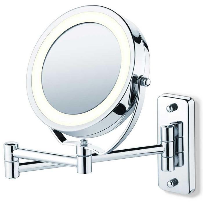 Espelho Articulado Cromado Duplo Com Aumento de 5X Iluminado Com Luz de Led Fashion Beauty JM315  - MGCOMPUTERS
