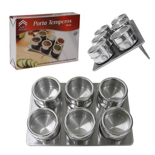 Porta Temperos E Condimentos Em Aço Inox Com Imã 6 Potes Art House BS120-XC259  - MGCOMPUTERS
