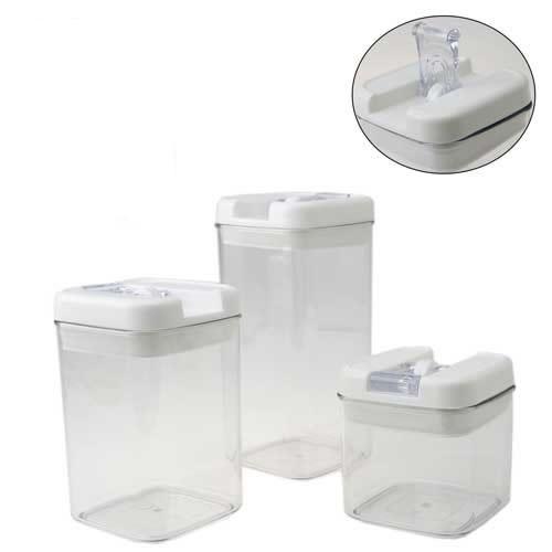 Conjunto de Potes Para Mantimentos Herméticos Com Vedação Jogo Com 3 Potes Plásticos Art House PC194  - MGCOMPUTERS
