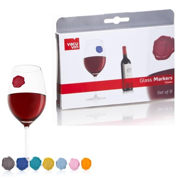 Marcadores Para Copos e Taças de Vinho Em Silicone Jogo 8 Marcadores Glass Markers Vacu Vin 21100  - MGCOMPUTERS