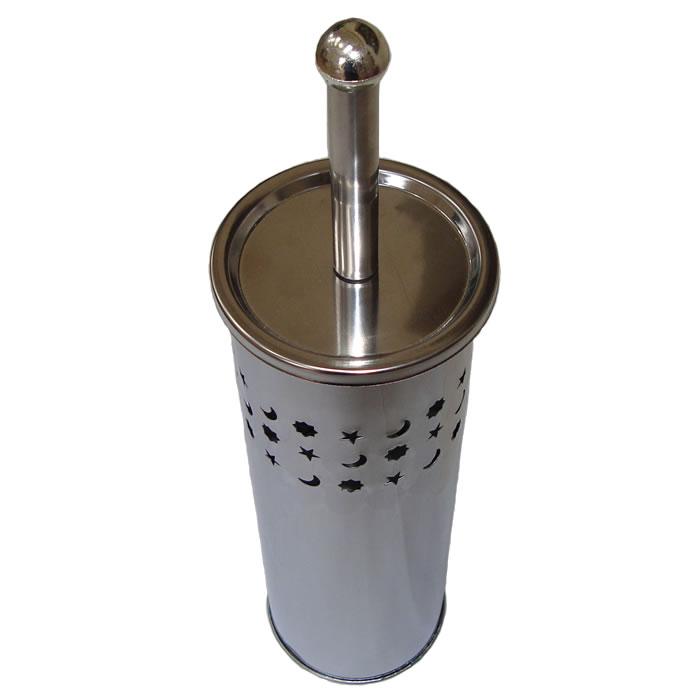 Escova Sanitária Para Banheiro Em Inox Com Recipiente Interno Kehome Estrelas 5675  - MGCOMPUTERS