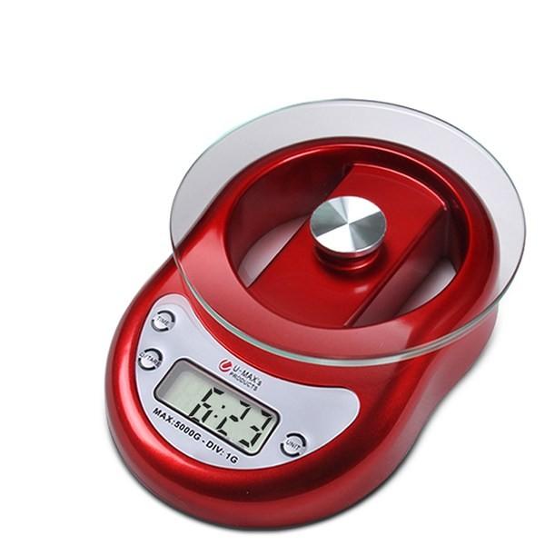 Balança Para Cozinha Com Bandeja De Vidro E Relógio Capacidade 5kg Precisão de 1g 8812 Vermelha  - MGCOMPUTERS