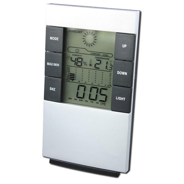 Relógio Digital De Mesa Com Despertador Termômetro Higrômetro E Luz de Fundo 3210  - MGCOMPUTERS