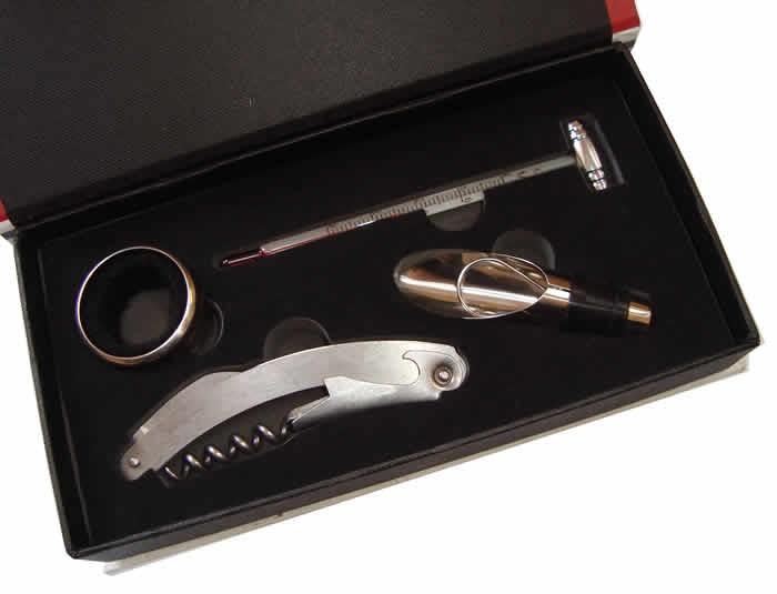 Conjunto Para Vinho Kit Com 4 Peças Saca Rolhas Aerador Corta Pingos e Termômetro SX315  - MGCOMPUTERS