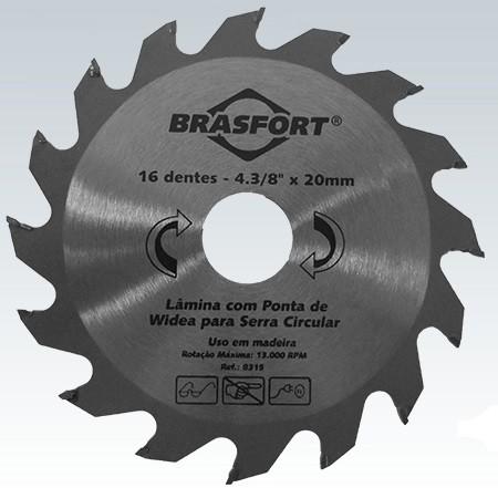 Disco De Serra Circular Para Madeira Lâmina Com 16 Dentes De Widea 4 3/8 Polegadas Furo 20mm Brasfort 8315  - MGCOMPUTERS