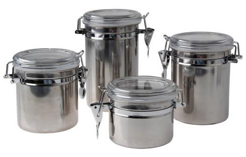 Conjunto de Potes Para Mantimentos Herméticos em Inox Jogo Com 4 Peças KeHome 5651  - MGCOMPUTERS
