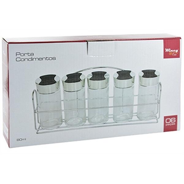 Porta Temperos E Condimentos 5 Potes Em Vidro Com Suporte Cromado Wincy VDA05002  - MGCOMPUTERS