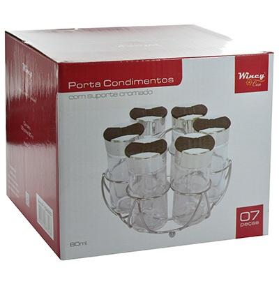 Porta Temperos E Condimentos 6 Potes Em Vidro Com Suporte Cromado Wincy VDA05003  - MGCOMPUTERS