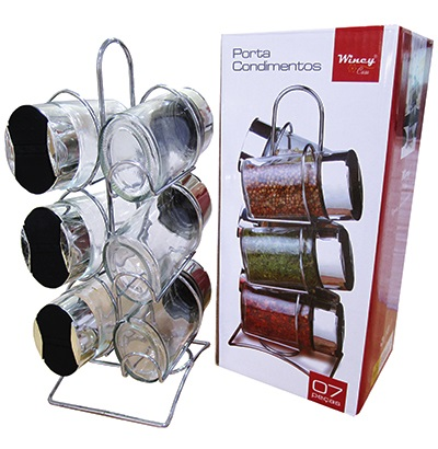 Porta Temperos E Condimentos 6 Potes Em Vidro Com Suporte Cromado Wincy VDA0426  - MGCOMPUTERS