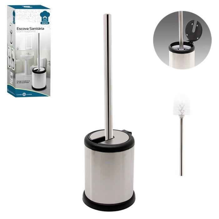Escova Sanitária Com Tampa Automática Para Banheiro Inox Art House 13122  - MGCOMPUTERS