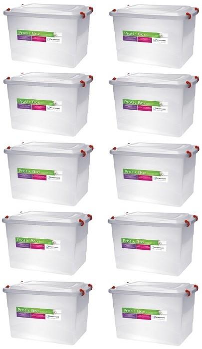 Kit Com 10 Caixas Organizadoras Plásticas Pratic Box 20 Litros Paramount 151  - MGCOMPUTERS