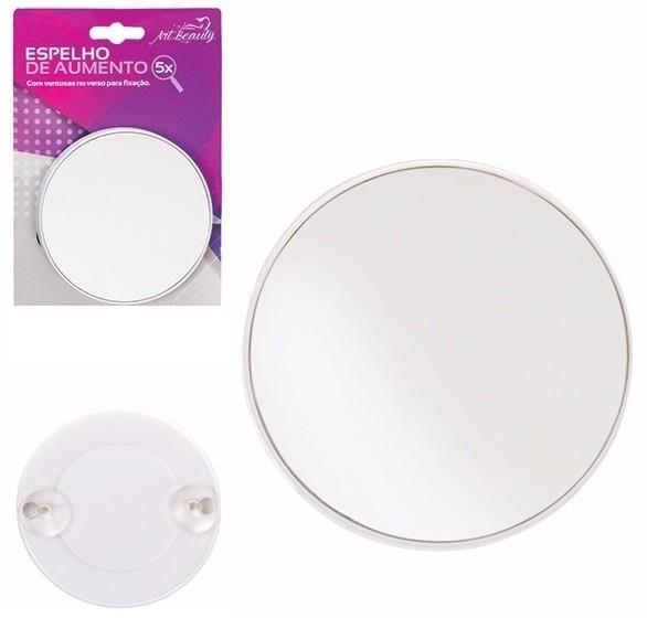 Espelho Com Aumento de 5X e Ventosas Para Fixar 14cm Art Beauty ZF2144 Branco  - MGCOMPUTERS
