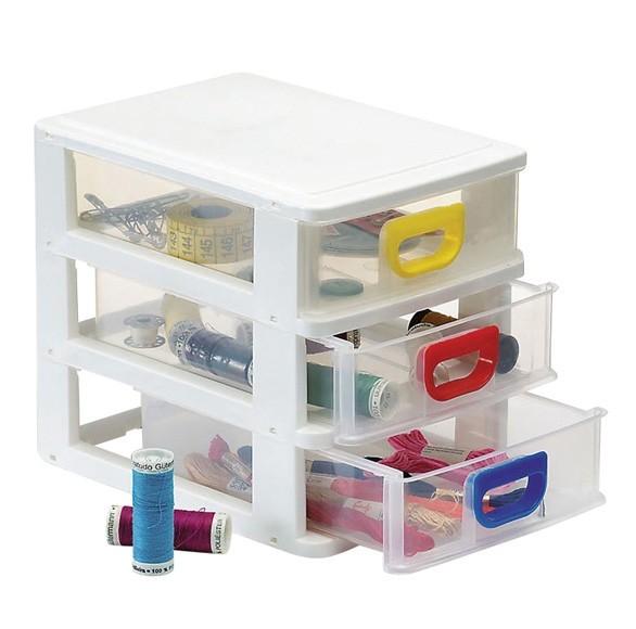 Gaveteiro Plástico Organizador Com 3 Gavetas Porta Tudo Micro Monte Líbano MC1220 Branco  - MGCOMPUTERS