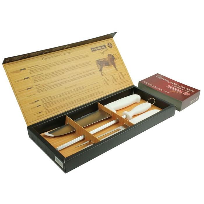 Conjunto Para Churrasco Com Faca Garfo Trinchante e Chaira Aço Inox Mundial 70003CHB  - MGCOMPUTERS