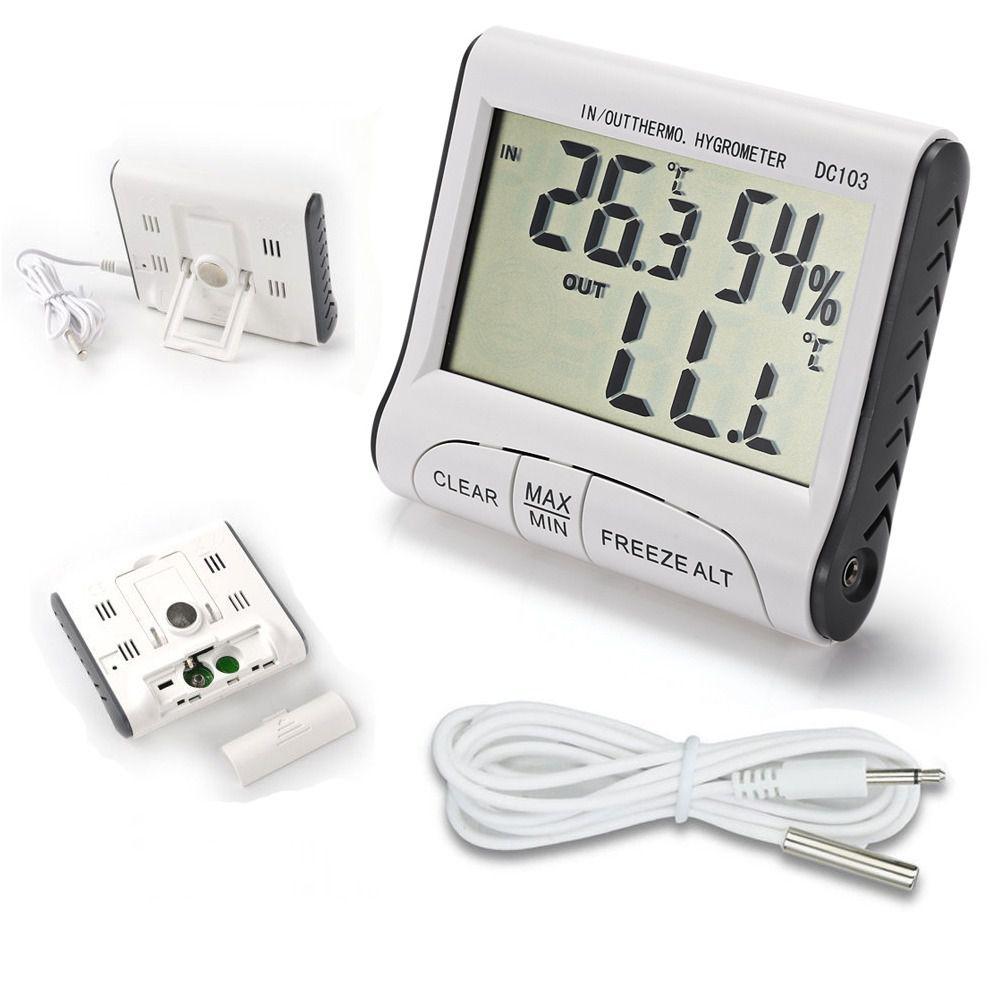Termômetro Interno E Externo Com Higrômetro Interno Digital Com Máxima E Mínima DC103  - MGCOMPUTERS