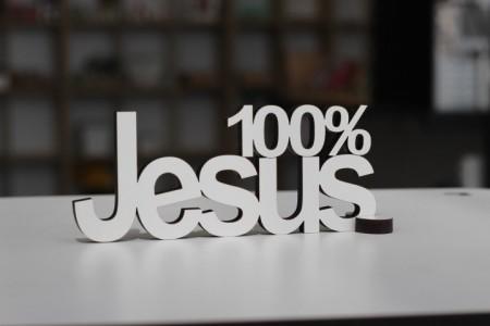 Palavra - 100% Jesus - para parede, porta ou mesa