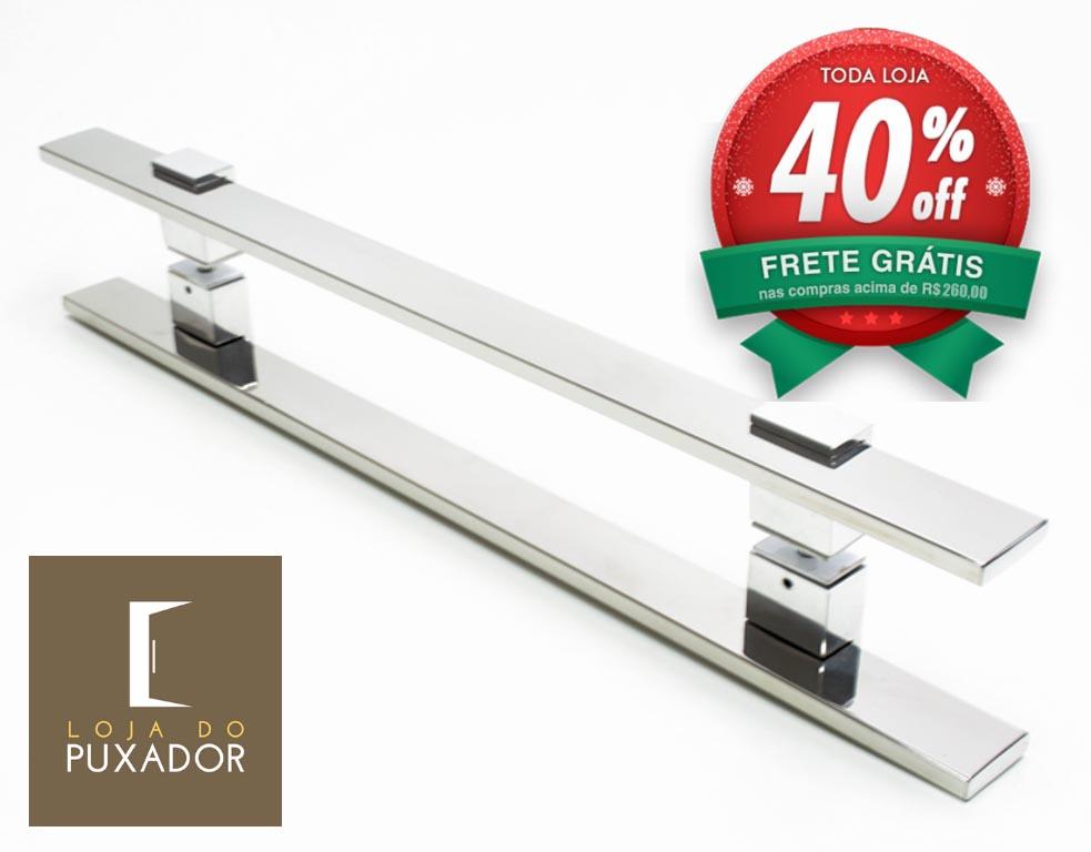 Puxador Para Portas Duplo AÇO INOX POLIDO (LUMA). Para portas Pivotante /Madeira /Vidro/Alumínio .