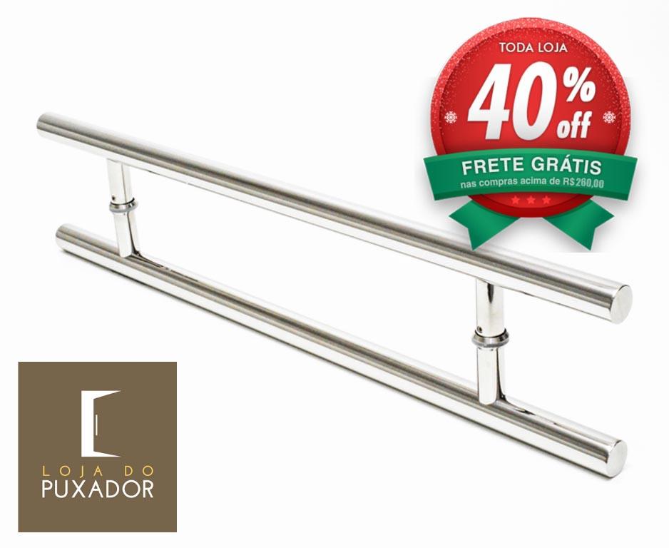 Puxador Para Portas Duplo AÇO INOX POLIDO (SOFT). Para portas Pivotante /Madeira /Vidro/Alumínio .