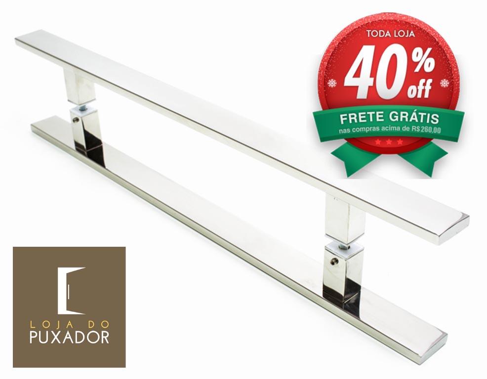 Puxador Para Portas Duplo AÇO INOX POLIDO (CLEAN). Para portas Pivotante /Madeira /Vidro/Alumínio .