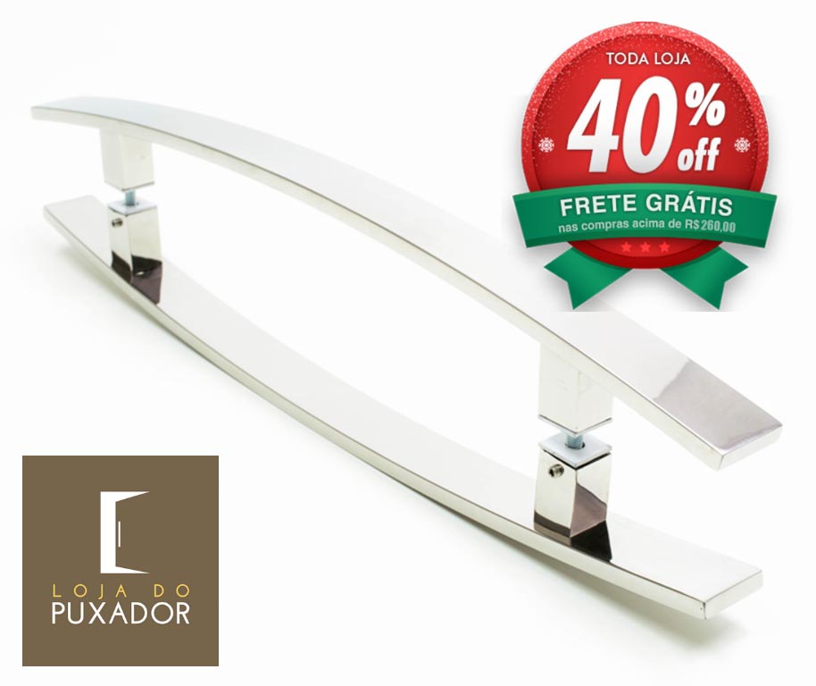 Puxador Para Portas Duplo AÇO INOX POLIDO (LUGUI). Para portas Pivotante /Madeira /Vidro/Alumínio .