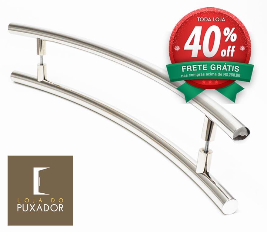 Puxador Para Portas Duplo AÇO INOX POLIDO (SOLARES). Para portas Pivotante /Madeira /Vidro/Alumínio .