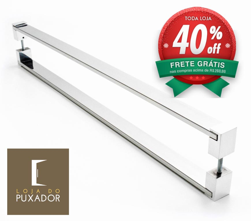 Puxador Para Portas Duplo AÇO INOX  POLIDO (LIAN). Para portas Pivotante /Madeira /Vidro/Alumínio .