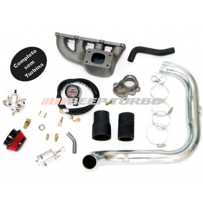 Kit turbo GM - Corsa 1.0 MPFI c/ coletor Ferro Fundido sem Turbina