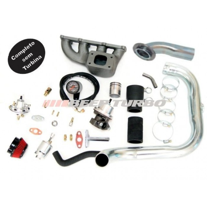 Kit turbo GM - Corsa 1.6 MPFI - coletor ferro fundido s/ SR e DIR sem Turbina