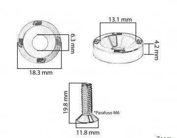 Conjunto de Arruelas em Alúminio com Parafusos M6 (8 Conjuntos)