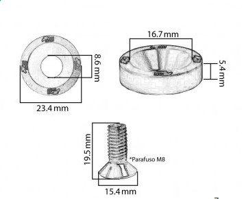 Conjunto de Arruelas em Alúminio com Parafusos M8 (6 Conjuntos) - Metal Horse