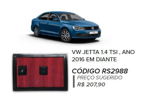FILTRO DE AR ESPORTIVO IN BOX JETTA TSI + BRINDE