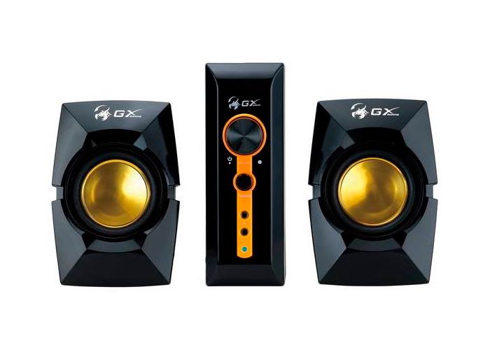 Caixa de Som GX Gaming Genius SW-G2.1 3000 + 2 Caixas + 1 Subwoofer - 70W, Entrada Dupla PC TV DVD, Alto-Falante 6,5