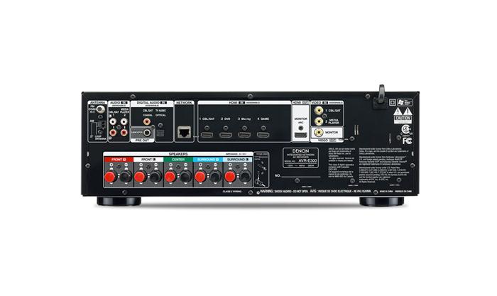 Receiver Denon multi-canal AVR-E300 - 5.1 Canais, 3D, Som auto-ajustável ambientalmente, 1080p, Apple AirPlay, HDMI