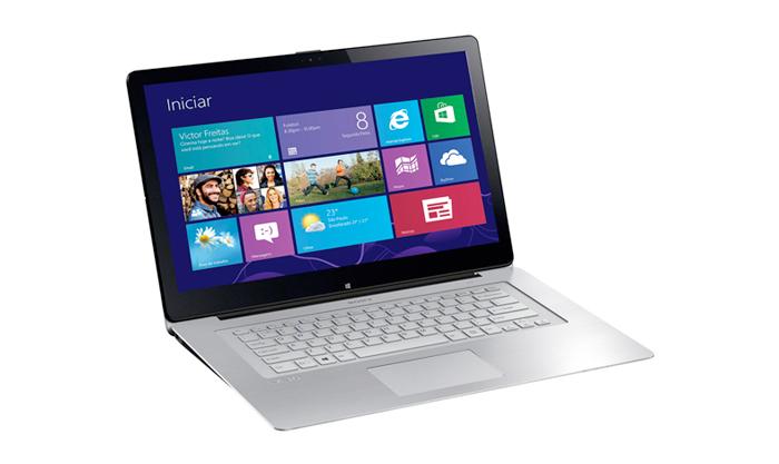 Notebook Sony Vaio Ultrafino Conversível 2 em 1 Multiflip, Core i7 (4ª geração), mem. 8GB, HD 750GB,  LED Full HD 15,5´ TOUCHSCREEN