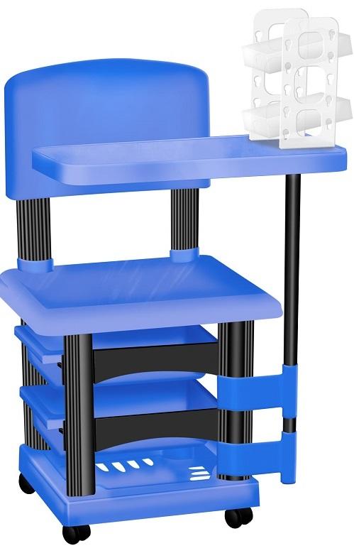 Cadeira Cirandinha Para Manicure Azul e Preto Com Display para Esmaltes