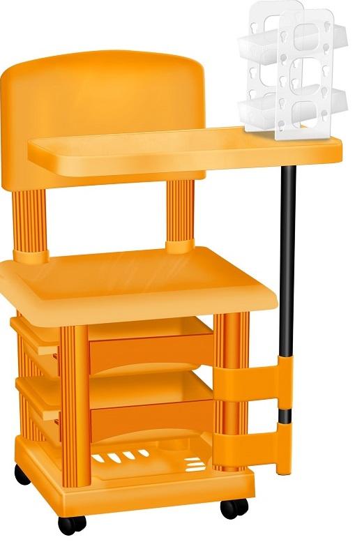 Cadeira Cirandinha Laranja Para Manicure Com Display para Esmaltes