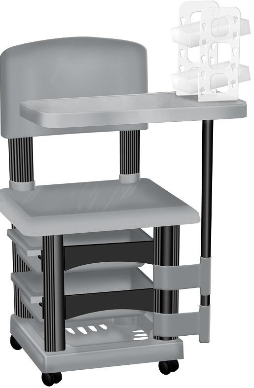 Cadeira Cirandinha Prata e Preto Para Manicure Com Display para Esmaltes