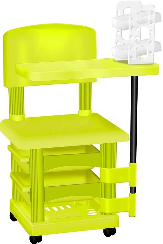 Cadeira Cirandinha Verde Limão Para Manicure Com Display para Esmaltes