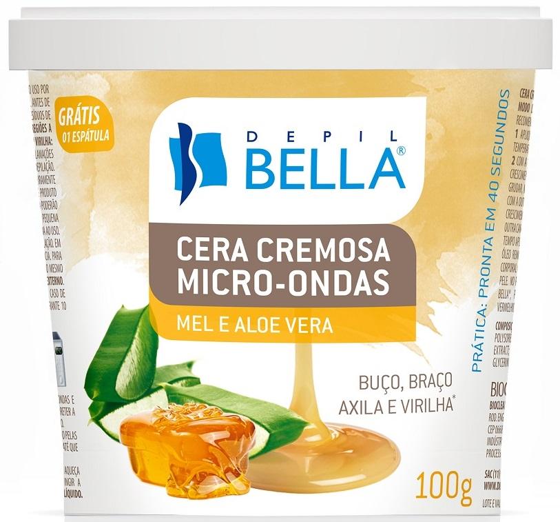 Cera Para Depilação Cremosa Micro-ondas Mel E Aloe Vera 100g - Depil Bella